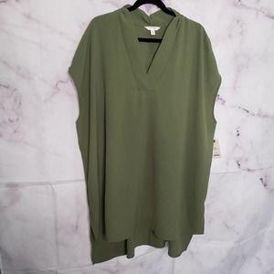 TERRA & SKY woven army green tunic blouse